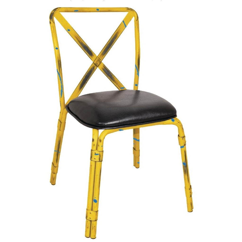 4PCE Bolero Antique Yellow Steel Chairs with Black PU Seat