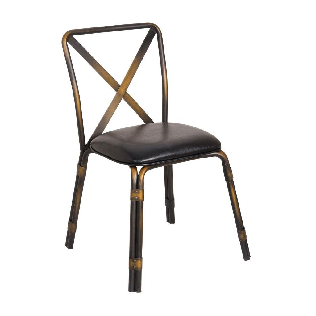 4PCE Bolero Antique Copper Steel Chairs with Black PU Seat