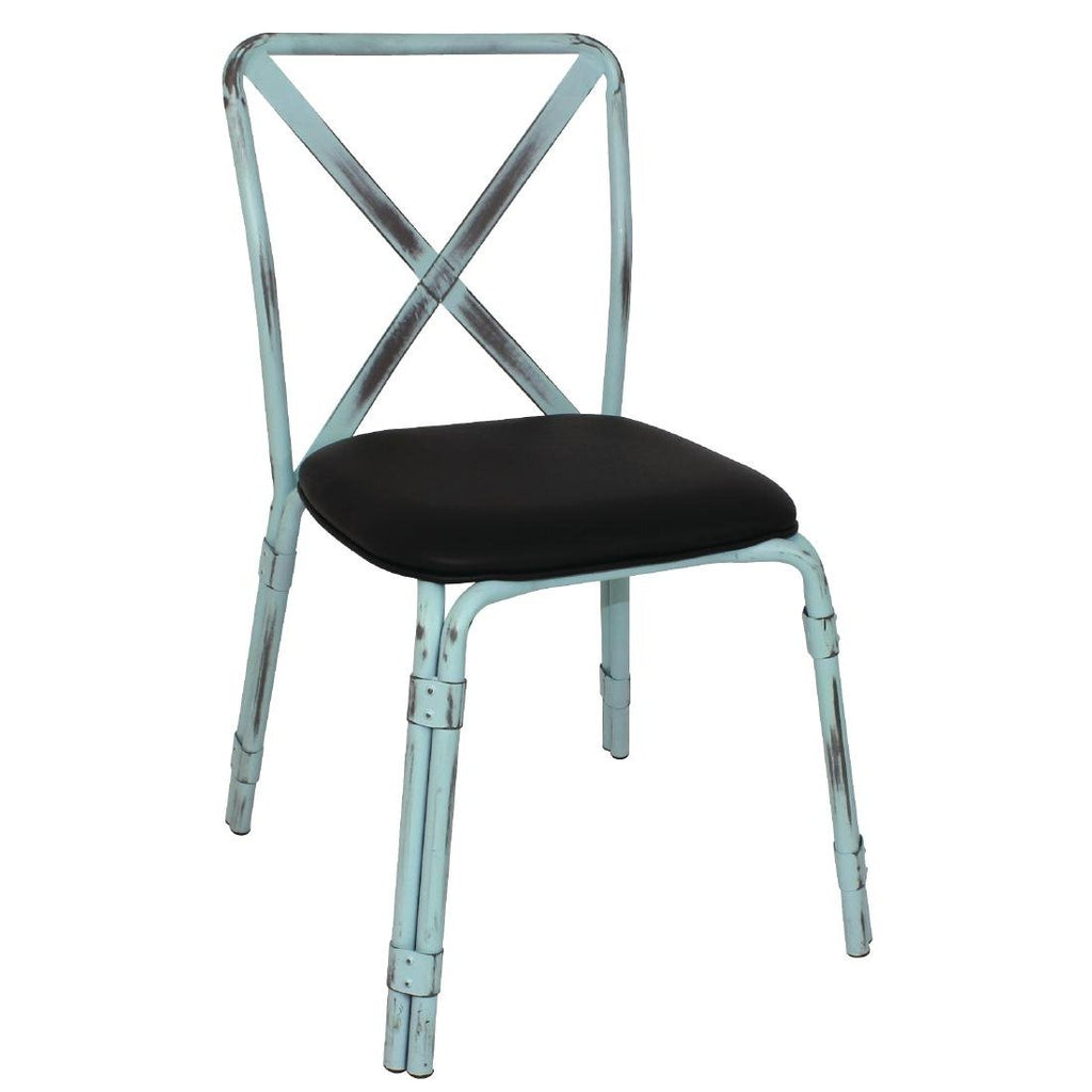 4PCE Bolero Antique Sky Blue Steel Chairs with Black PU Seat