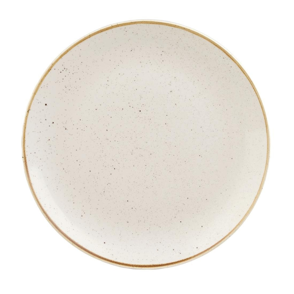 12PCE Churchill Stonecast Round Coupe Plate Barley White 295mm