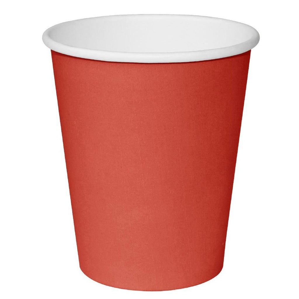 50PCE Fiesta Takeaway Coffee Cups Single Wall Red 340ml