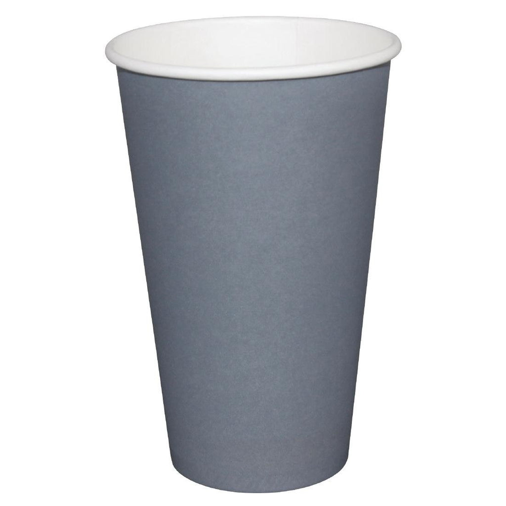 50PCE Fiesta Takeaway Coffee Cups Single Wall Charcoal 450ml