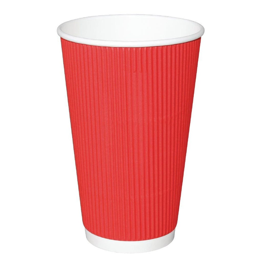 25PCE Fiesta Takeaway Coffee Cups Ripple Wall Red 450ml