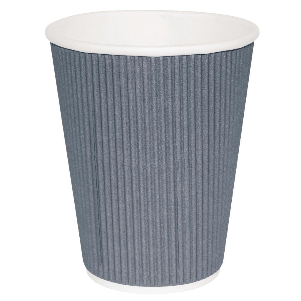 25PCE Fiesta Takeaway Coffee Cups Ripple Wall Charcoal 225ml
