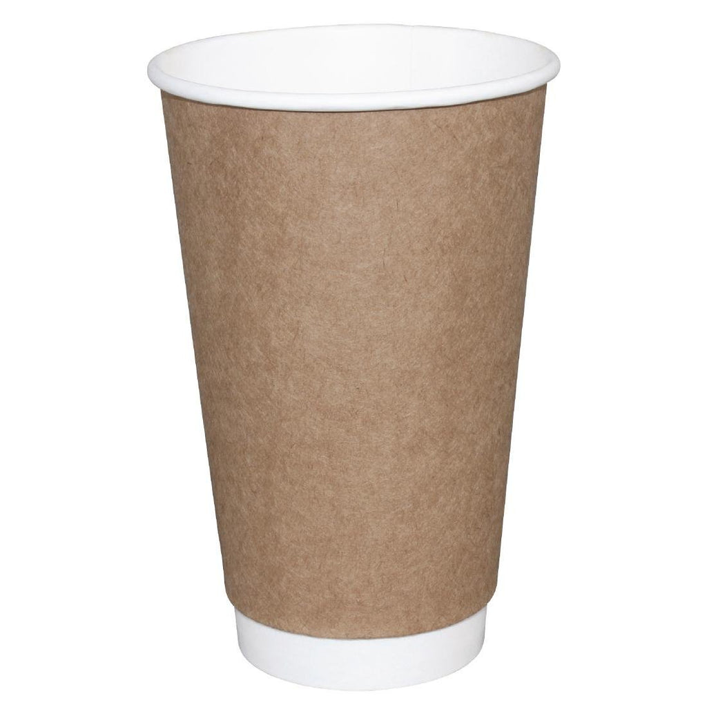 25PCE Fiesta Takeaway Coffee Cups Double Wall Kraft 450ml