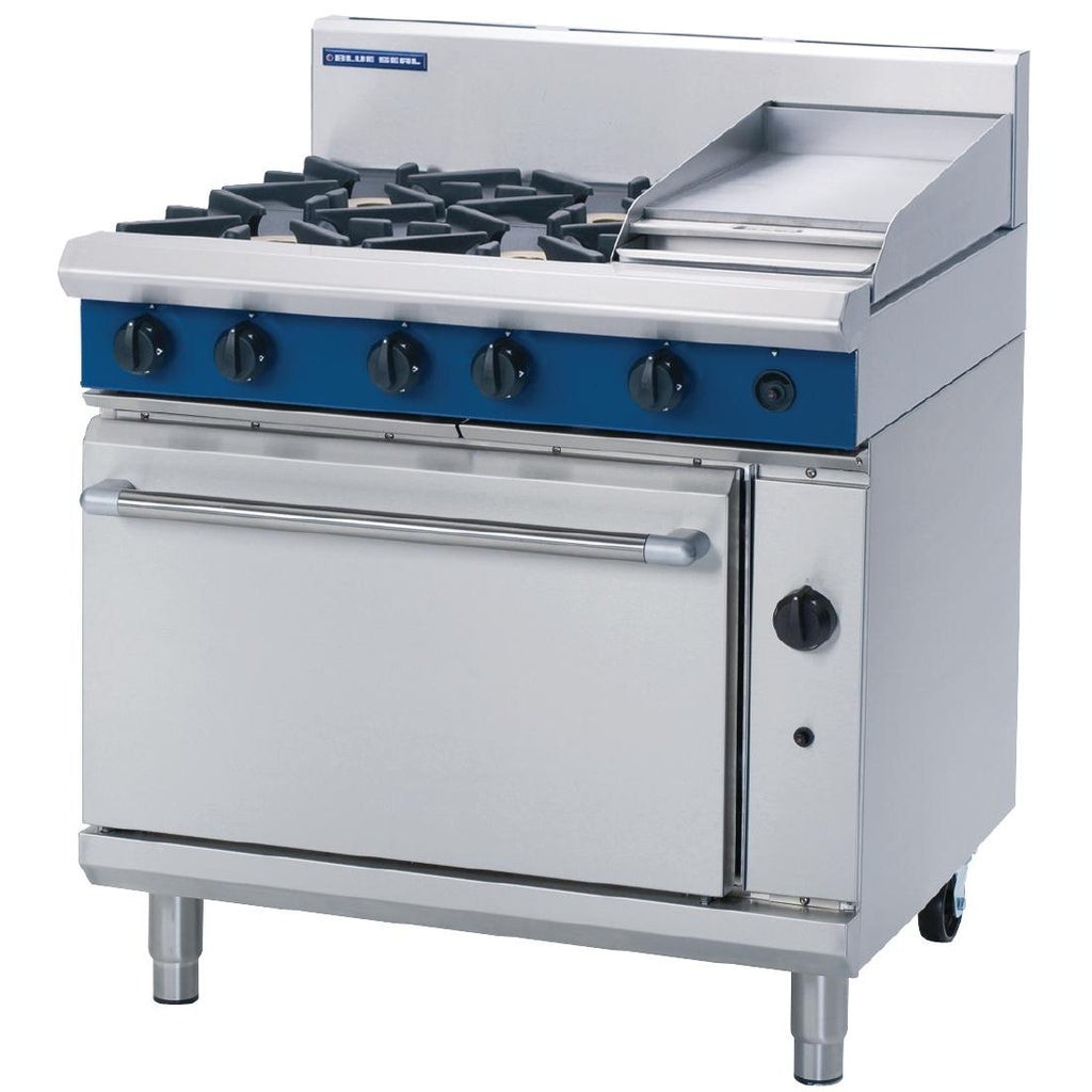Blue Seal by Moffat 900mm 4 Burner Oven Range with Griddle LPG