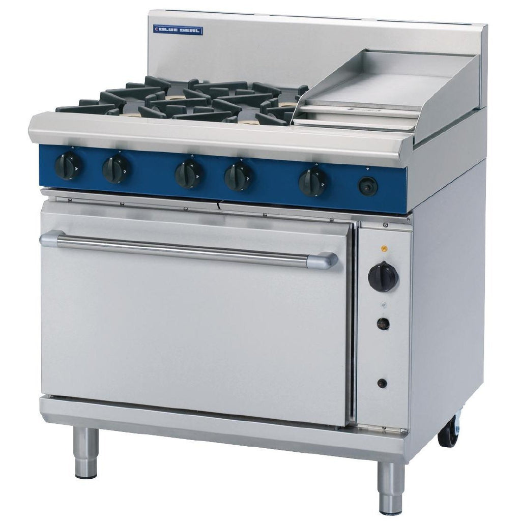 Blue Seal by Moffat 900mm 4 Bunrer Convection Oven Range with Griddle NG