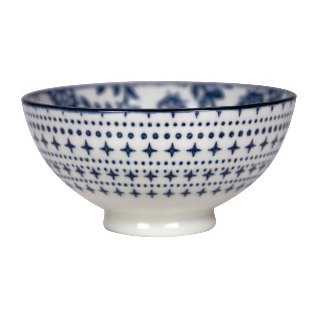 6PCE Gusta Out Of The Blue Flowers Round Bowl Blue 100mm