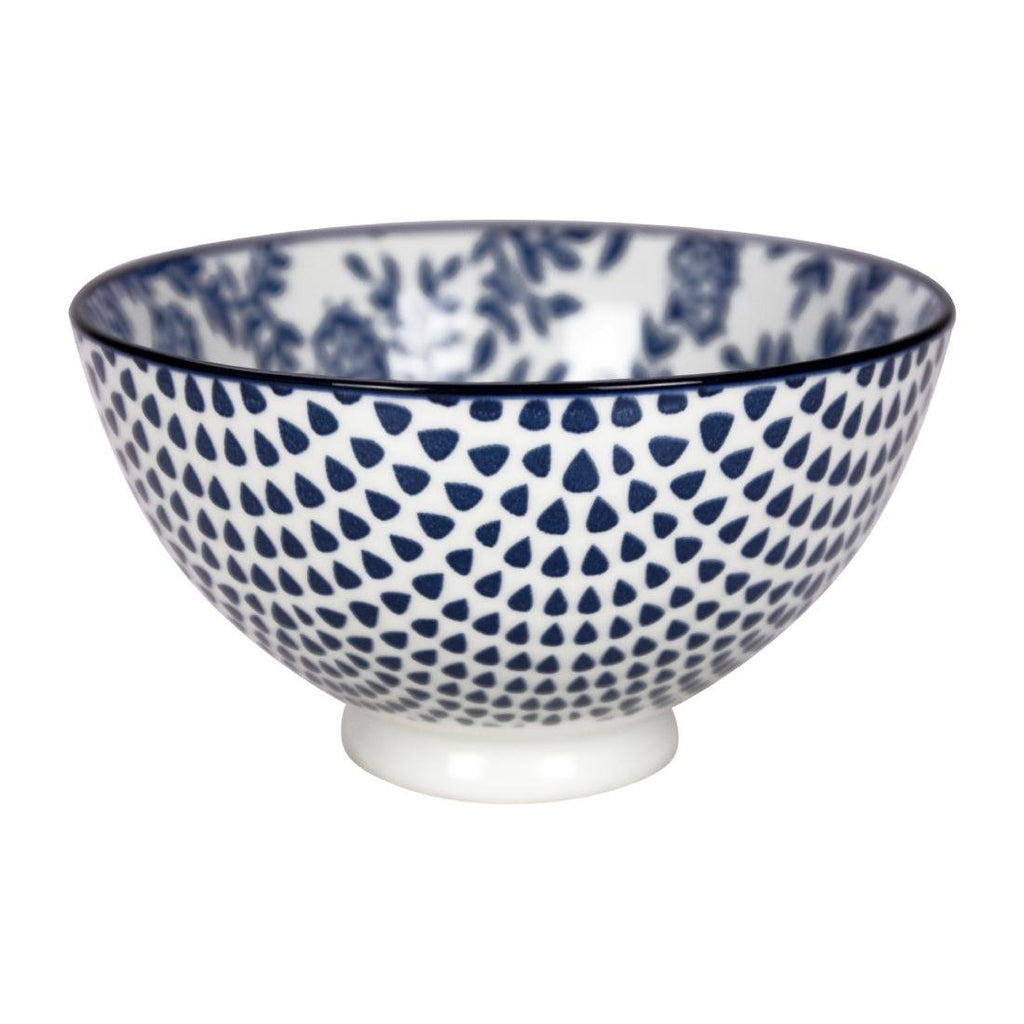 6PCE Gusta Out Of The Blue Flowers Round Bowl Blue 135mm