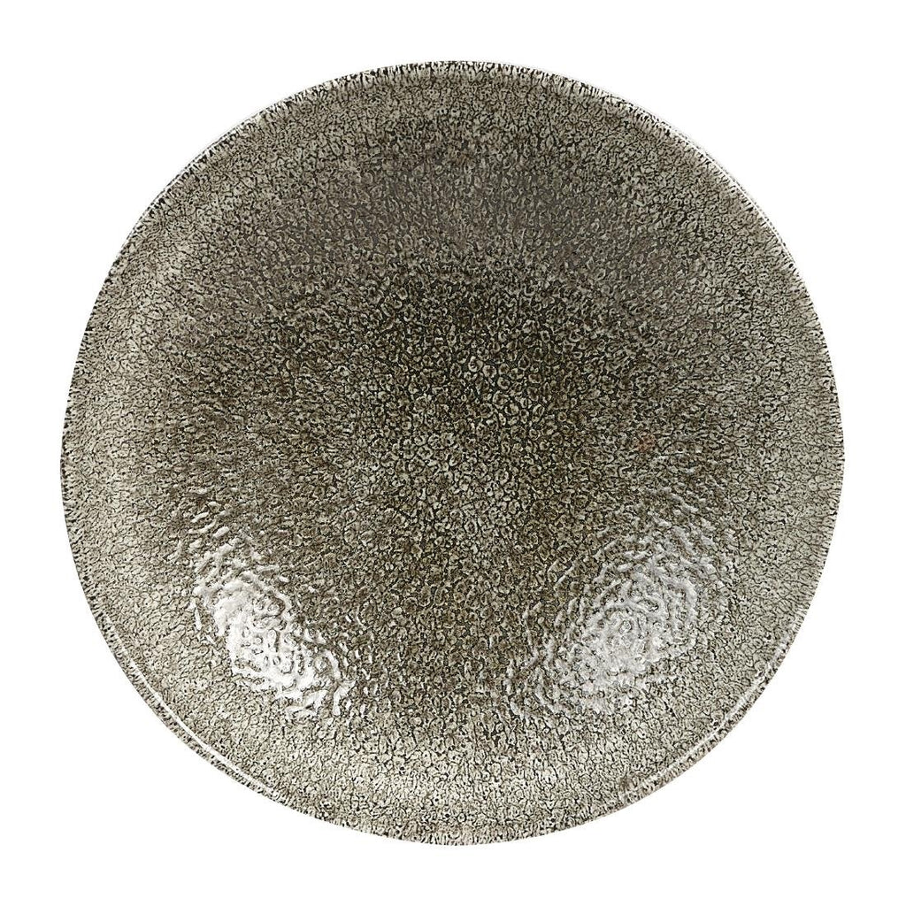 12PCE Churchill Studio Prints Raku Round Coupe Plates Quartz Black 165mm