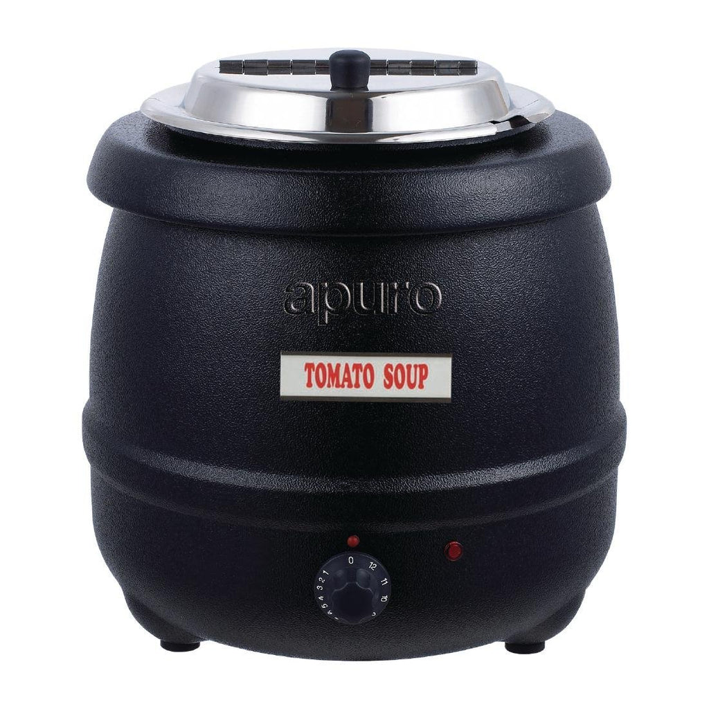 Apuro 10L Black Soup Kettle with Lid