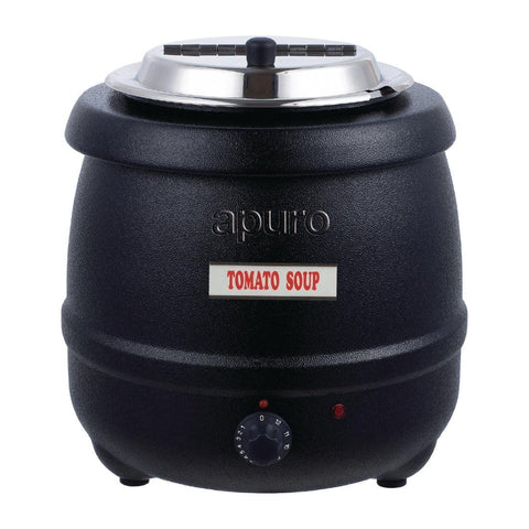 Apuro Black Soup Kettle with Lid