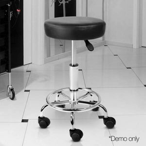 Artiss Round PU Leather Swivel Salon Stool Black