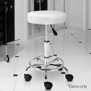 Artiss Round PU Leather Swivel Salon Stool White