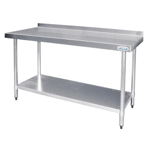 Vogue Stainless Steel Prep Table with Splashback 1500mm
