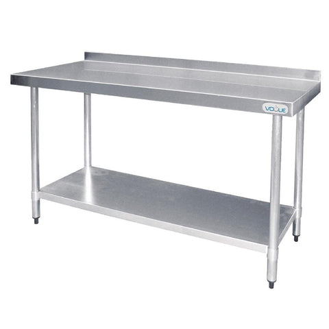 Vogue Stainless Steel Prep Table with Splashback 1200mm