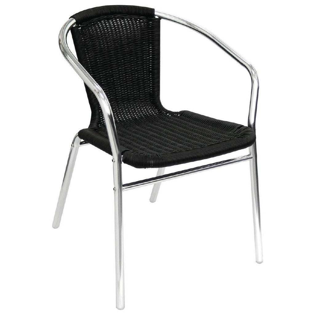 4PCE Bolero Aluminium and Black Wicker Chairs Black