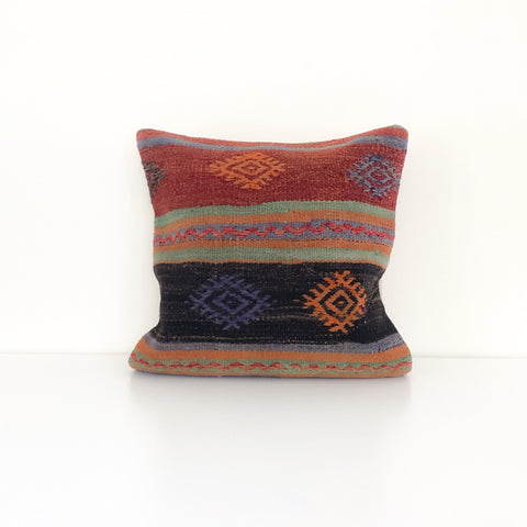 Wool Kilim Pillow - Red and Black