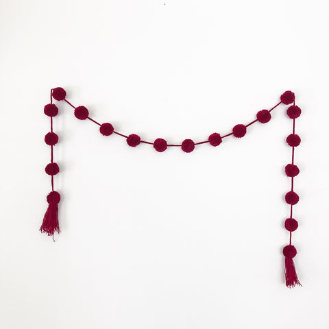 Mexican Pom Pom Garland - Red