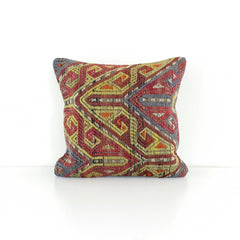Wool Kilim Pillow - Yellow Patterns