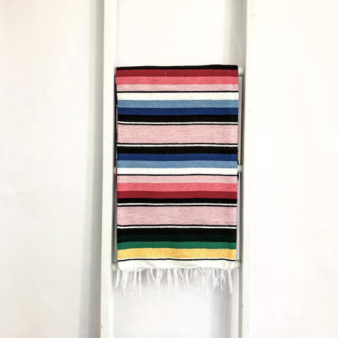Mexican Serape Throw Blanket - Pastel Pink