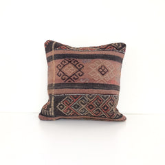 Wool Kilim Pillow - Pink and Black
