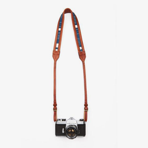 Stylish Camera Strap - Leather and Indigo Blue
