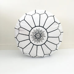Moroccan White Leather Pouf - Black Embroideries