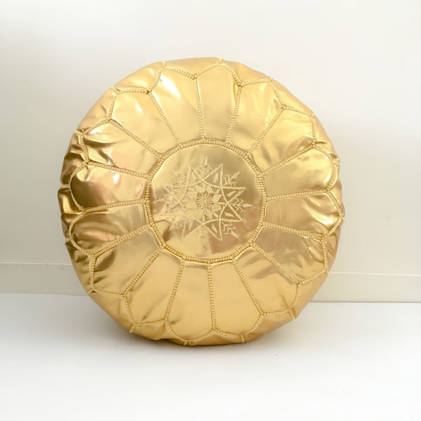 Moroccan Pouf Gold Faux Leather