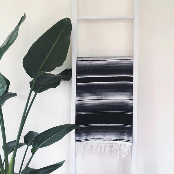 Mexican Serape Throw Blanket - Black and Gray Stripes