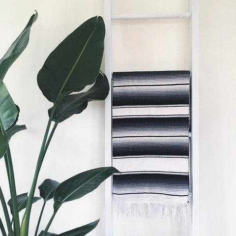 Mexican Serape Throw Blanket - Black and White