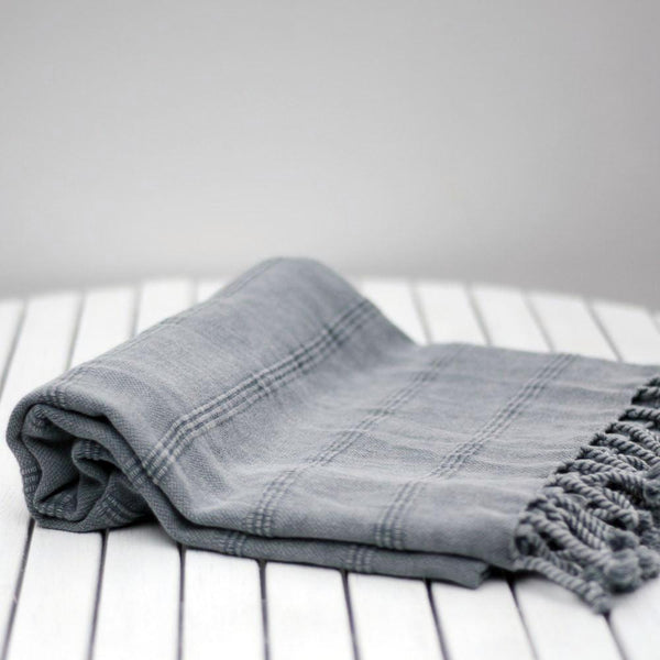 TURKISH HAMMAM TOWEL ANTALYA - GRAY