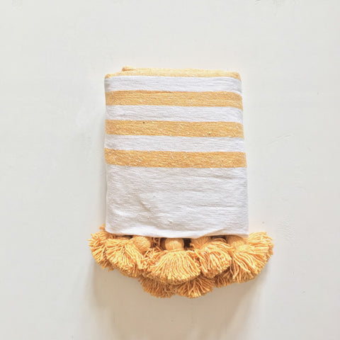 White and Yellow Moroccan Striped Pom Pom Blanket