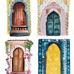 Watercolor Art Print - Moroccan Doors