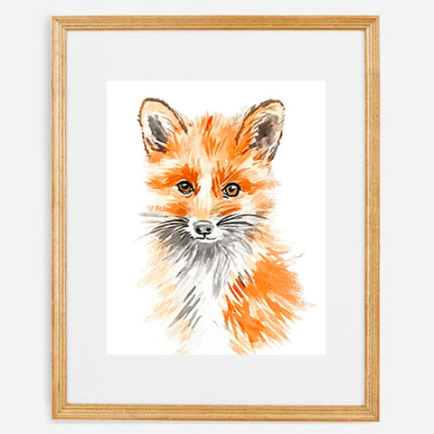 Watercolor Art Print - Baby Fox