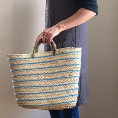 Moroccan Basket with Wool Stripes - Blue