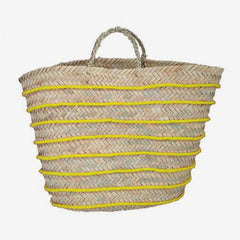 Moroccan Basket with Wool Stripes - Yellow