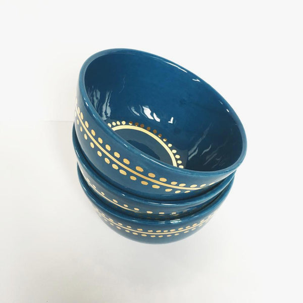 DECORATIVE BOWL BLUE AND GOLD