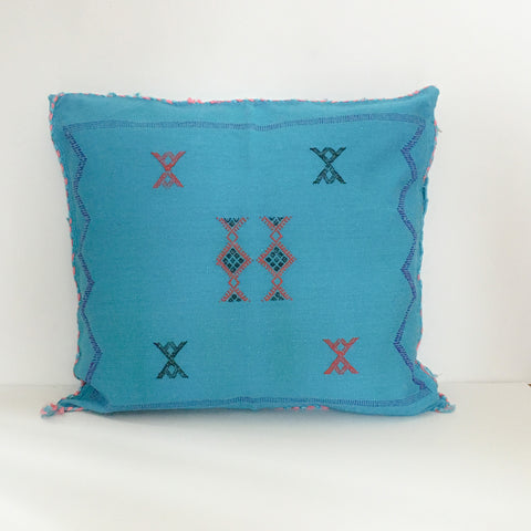 Bright Blue Moroccan Cactus Silk Berber Pillow