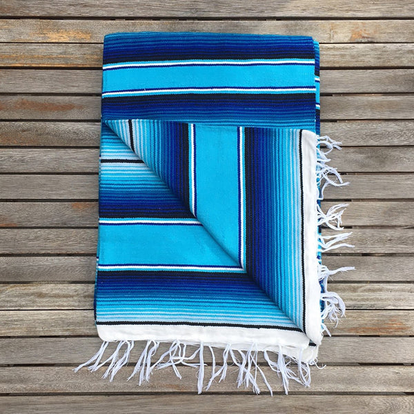 Mexican Serape Throw Blanket - Blue and Teal