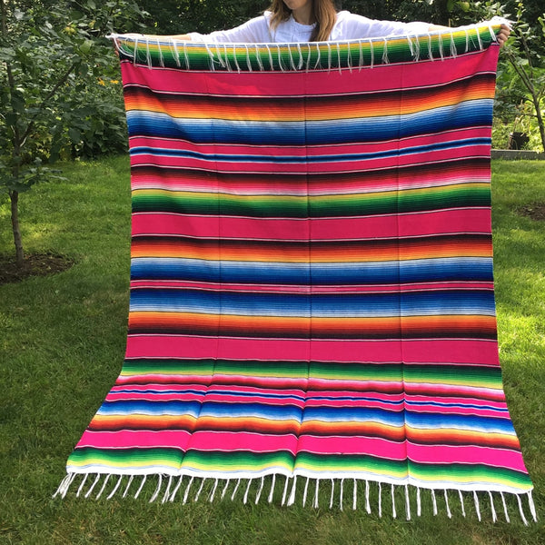 Couverture mexicaine serape rose
