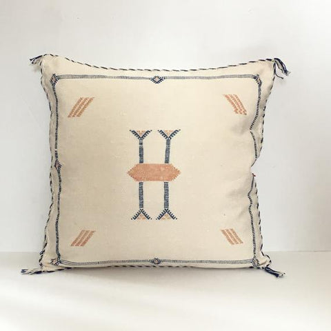 Moroccan Embroidered Sabra Pillow - White