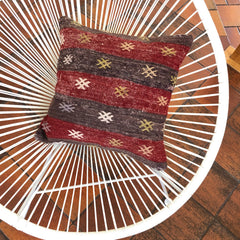 Wool Kilim Pillow - Red and Gray