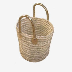 Moroccan Wicker Basket with Gold Handles