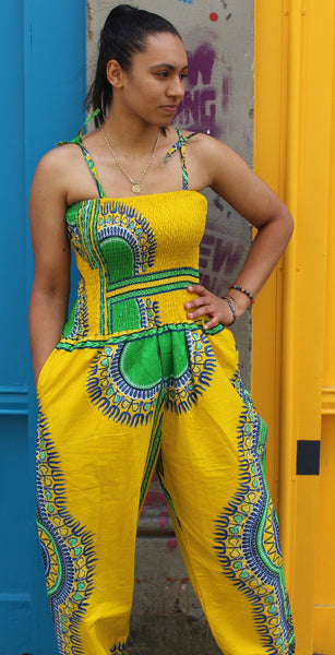 Jaineba Jumpsuit - Yellow dashiki