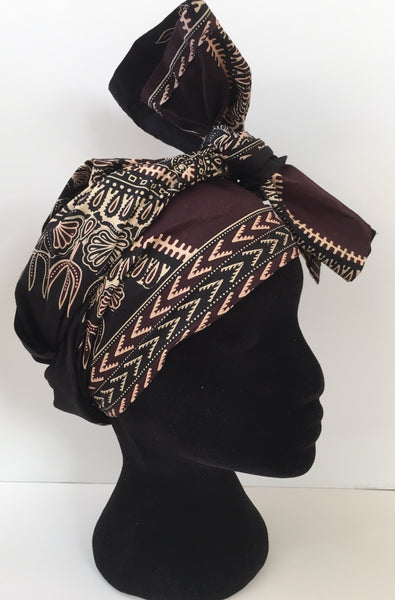 Ousman Head Wrap - Large Head Wrap - Black Dashiki