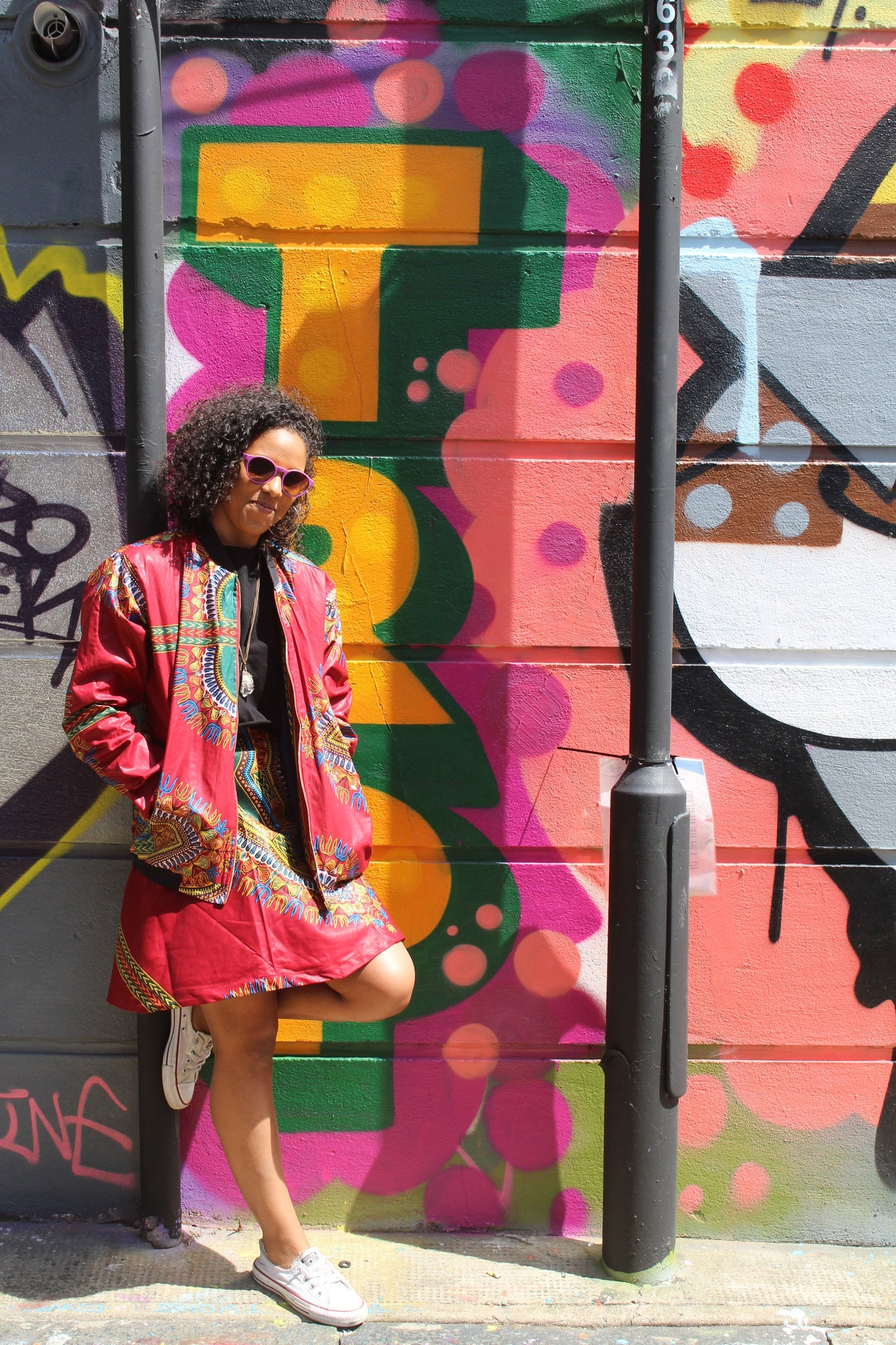 Jaineba Jacket - Red Dashiki - African Bomber jacket