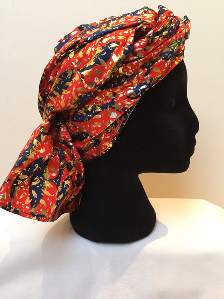 Ousman Head Wrap - Large Head Wrap - Gold Red