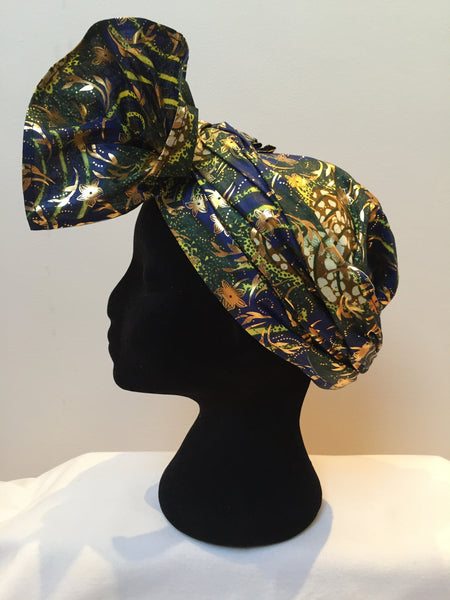 Ousman Head Wrap - Large Head Wrap - Blue Gold