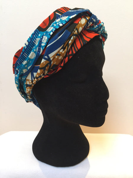 Ousman Head Wrap - Large Head Wrap - Blue